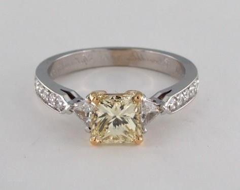 3 stone fancy yellow princess cut ring