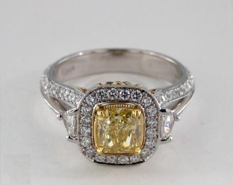 18k white gold halo yellow radiant diamond