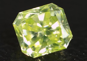 fancy yellowish green radiant cut diamond