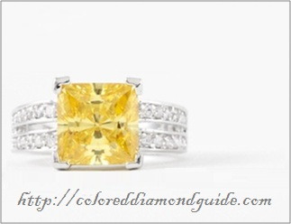intense yellow 1 carat diamond with double pave setting