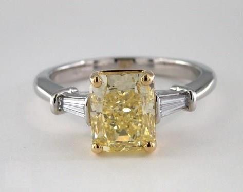 platinum ring with baguette sidestones
