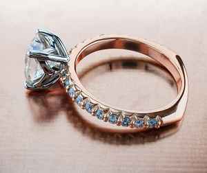 rose gold sidestones ring