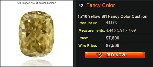 si1 yellow cushion diamond